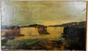 Antique American Folk Art Painting Niagara Falls