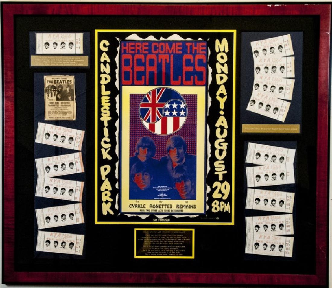 Beatles Framed Original Poster & Original Tickets