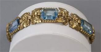 Vintage Gilt Metal  Aquamarine Paste Bracelet