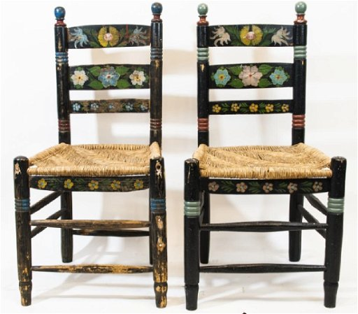 Pair Of Hand Painted Mexican Folk Art Chairs
