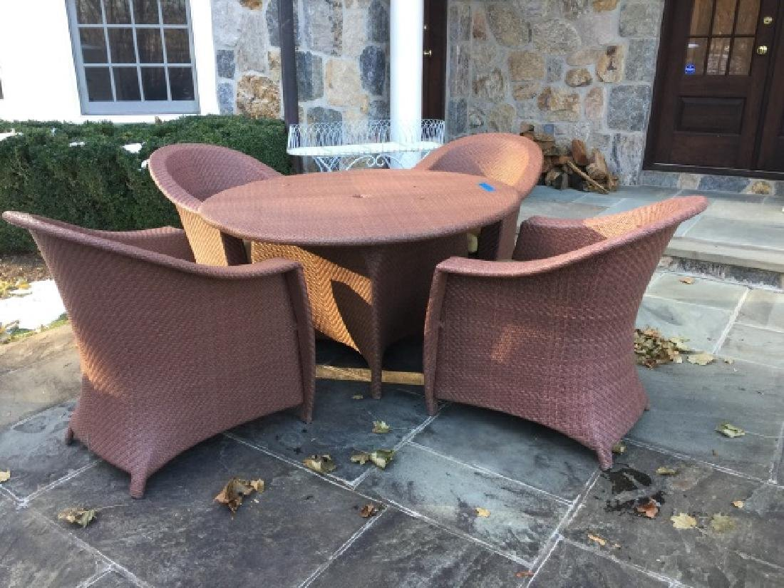 Brown Jordan Outdoor Dining Table & Four Armchairs