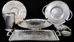 Collection Vintage Hammered Aluminum Serving Items