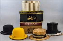 Collection Four Vintage Hats Including Hat Boxes