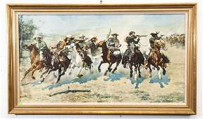 Frederic Remington Framed Western Print on Board