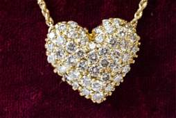18k & 2.5 Carat Diamond Heart Necklace Pendant