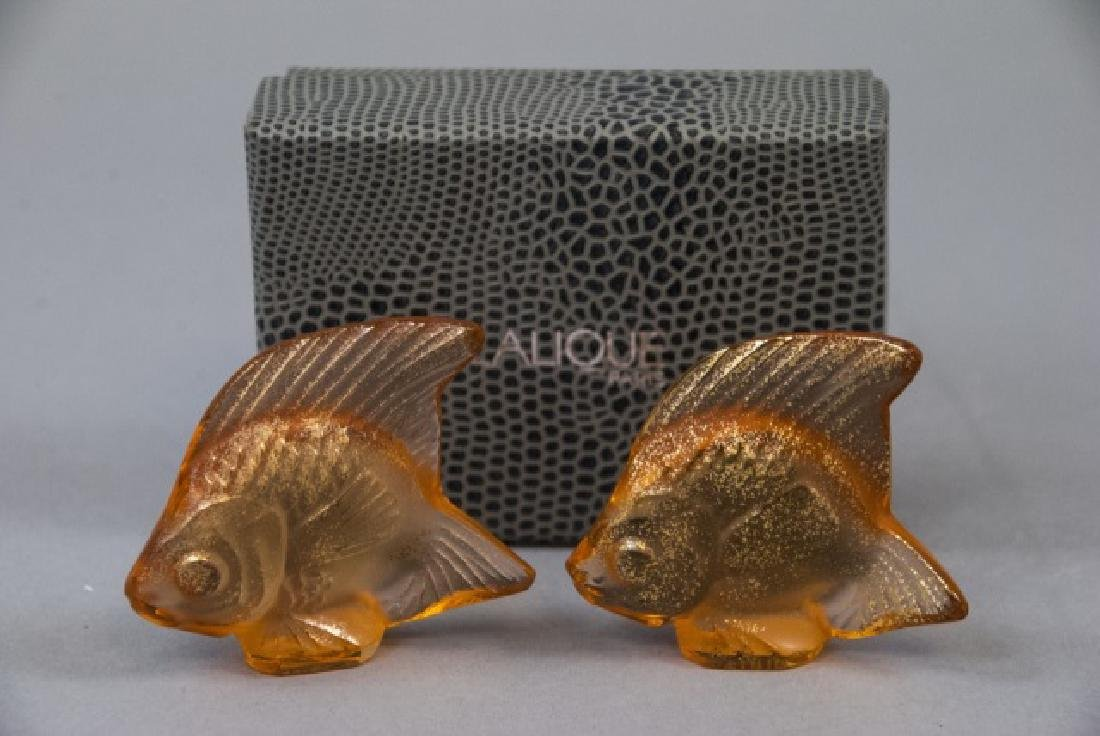 Two Lalique Art Glass Gold Fish Statues w Box