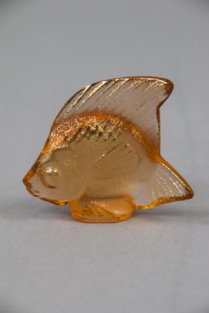 Two Lalique Art Glass Gold Fish Statues w Box - 2