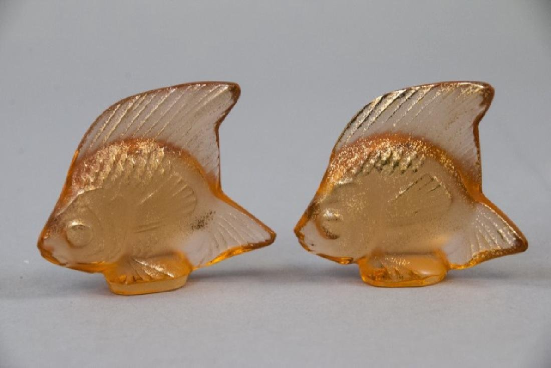 Two Lalique Art Glass Gold Fish Statues w Box - 3
