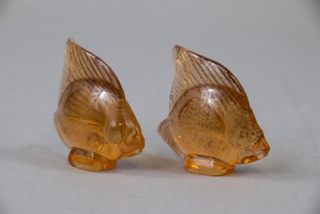 Two Lalique Art Glass Gold Fish Statues w Box - 5