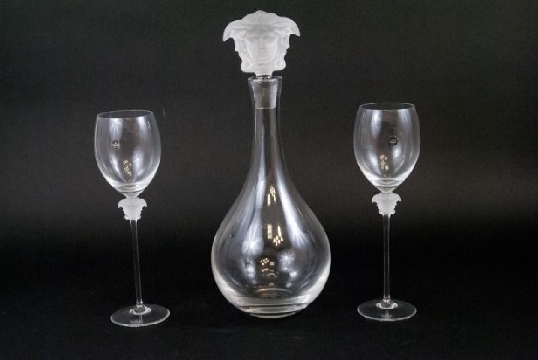 Versace Decanter & Pair of Goblets w Medusa Heads