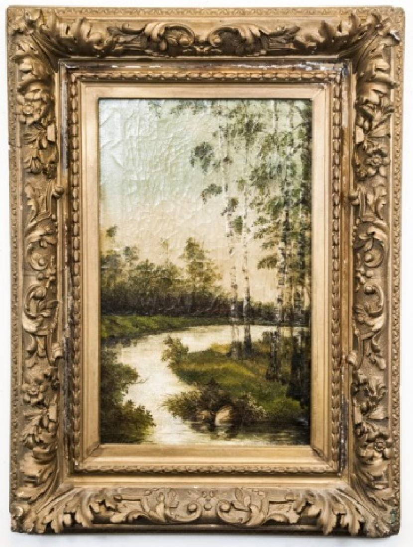 Antique 19th C Signed Oil Painting of Birch Trees