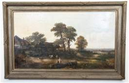 Antique English Country Farm Scene Oil Painting