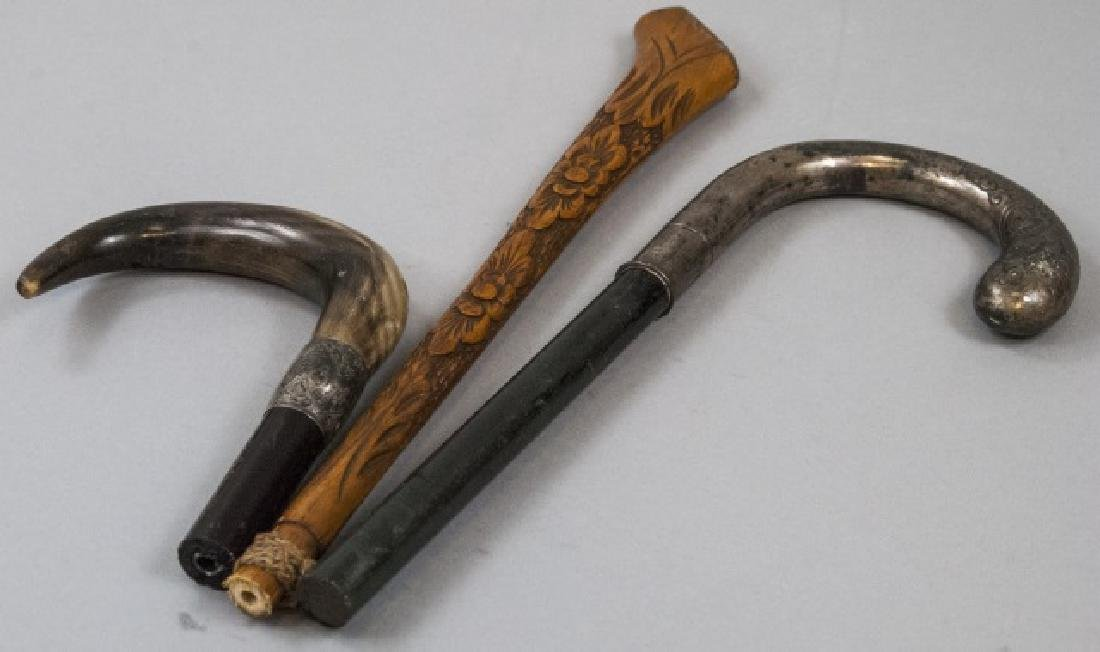 Three Antique Cane Handles - Sterling & Carved