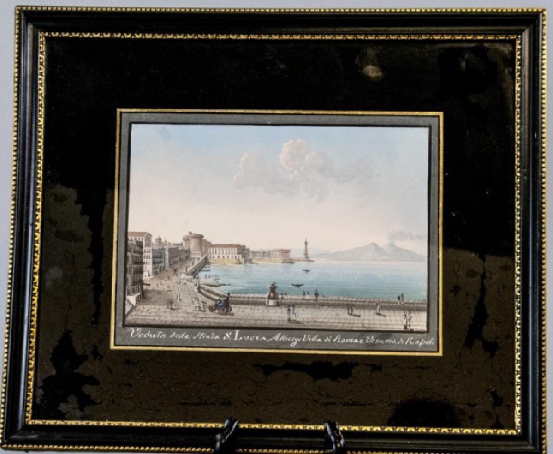 Framed Antique 19th C Neapolitan Gauche Painting