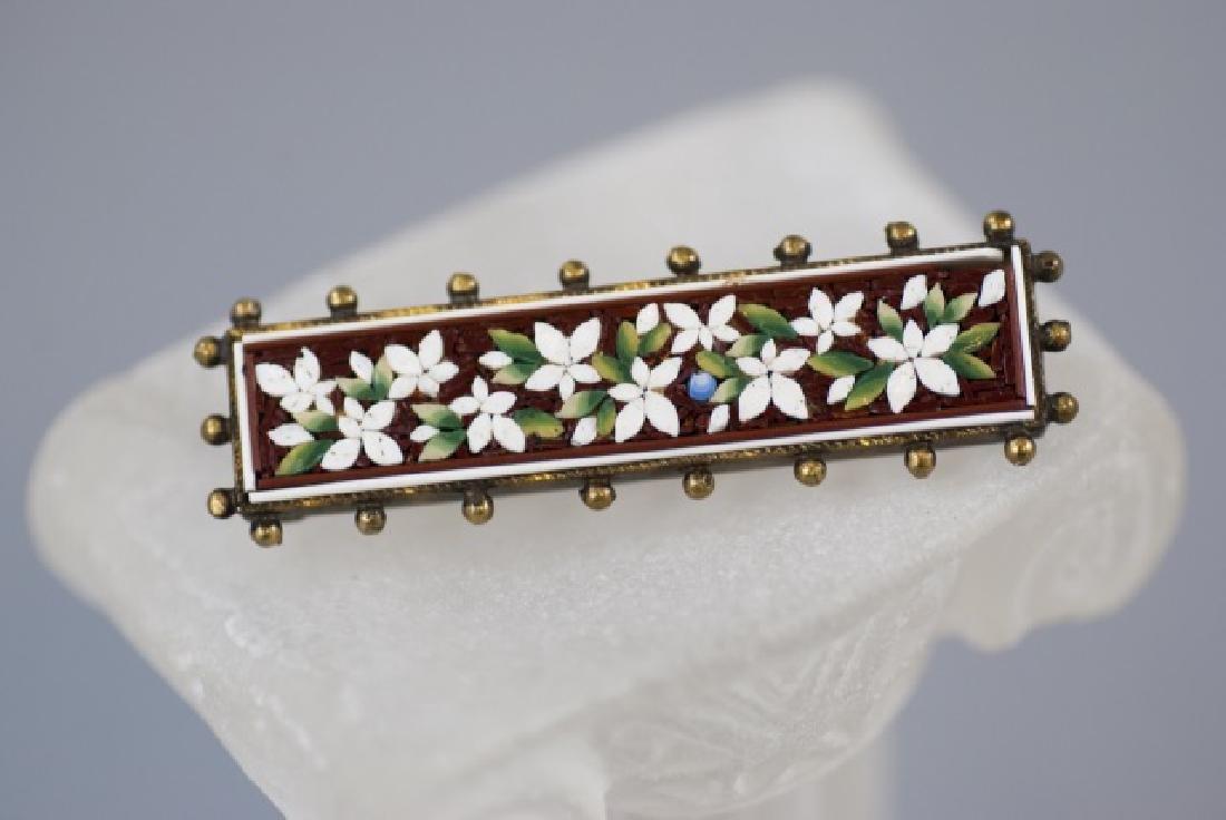 Antique 19th C Victorian Micro Mosaic Bar Brooch