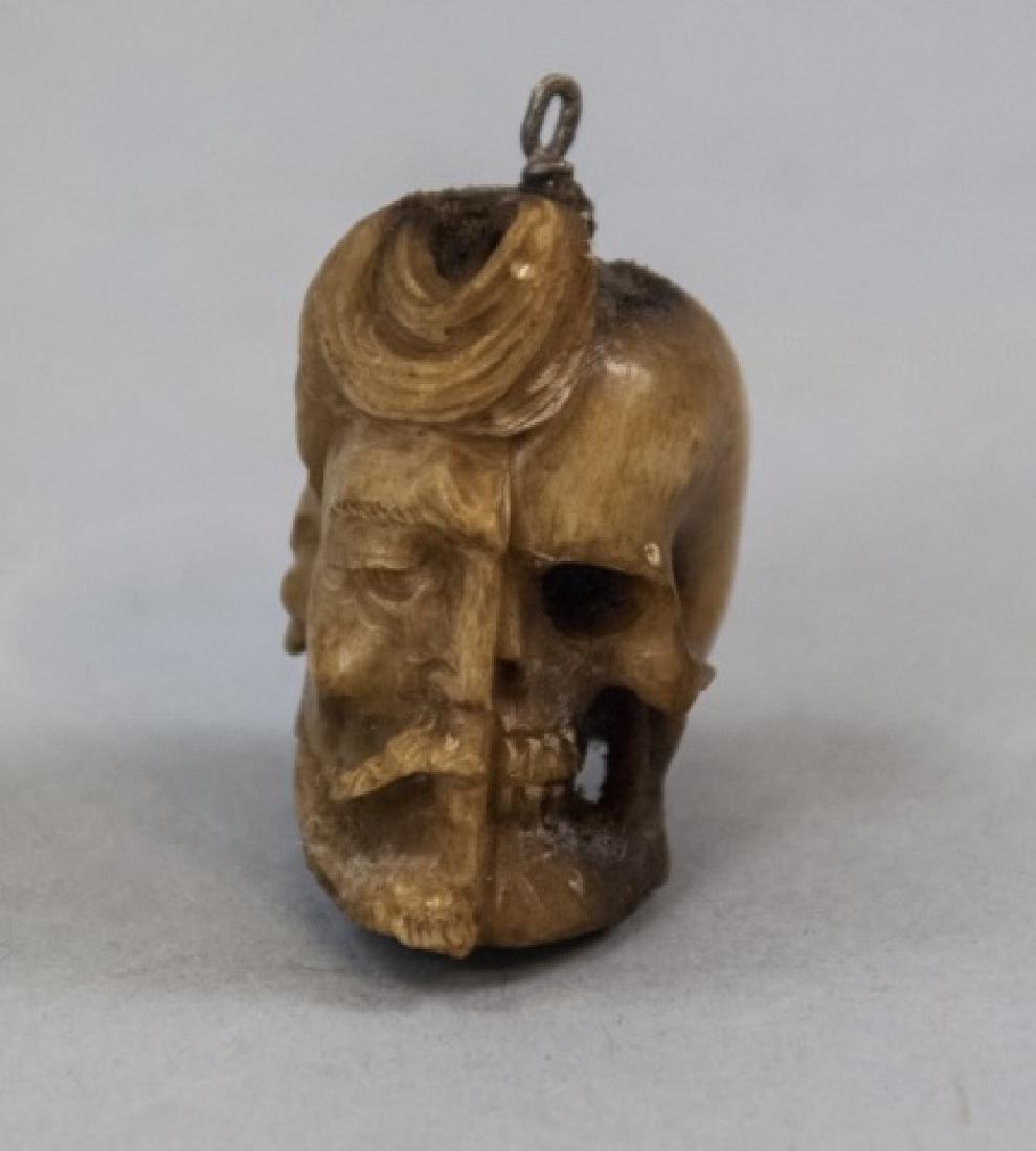 Hand Carved Bone Memento Mori Life & Death Pendant