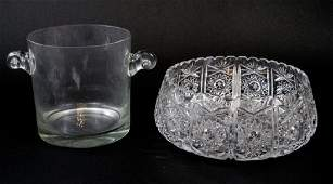 Tiffany & Co Ice Bucket & Large Cut Crystal Bowl
