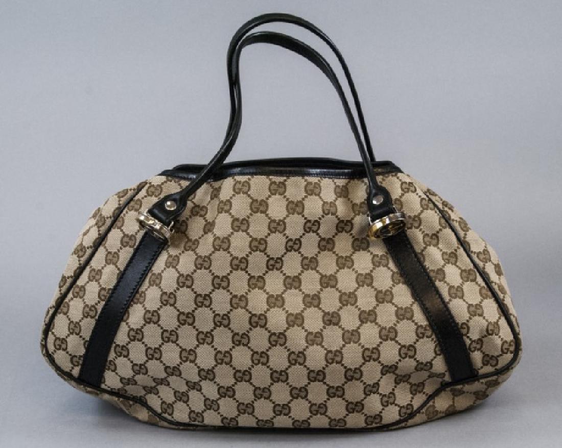 Gucci Italy Monogram Canvas & Leather Purse