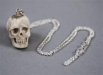 Hand Carved Bone Memento Mori Skull Necklace Jan 14 2018 Greenwich Auction In Ct