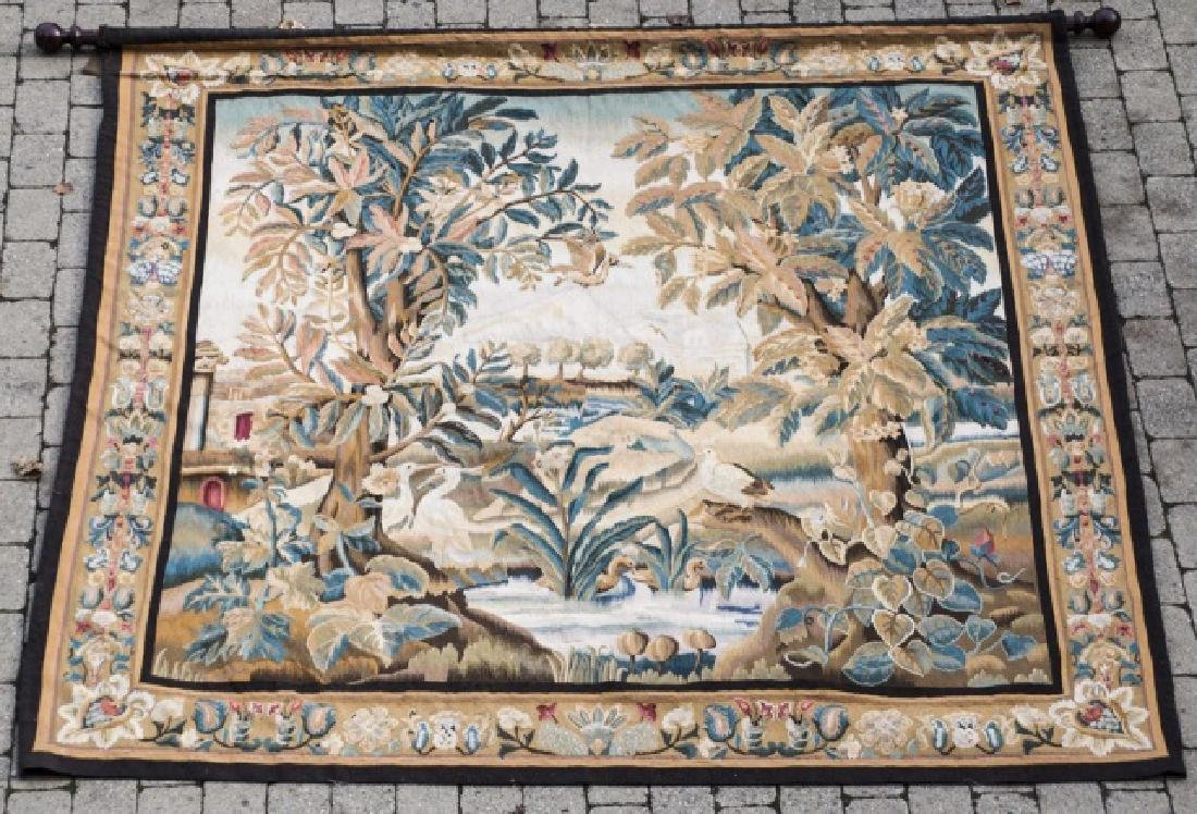 Large Antique Continental Aubusson Style Tapestry