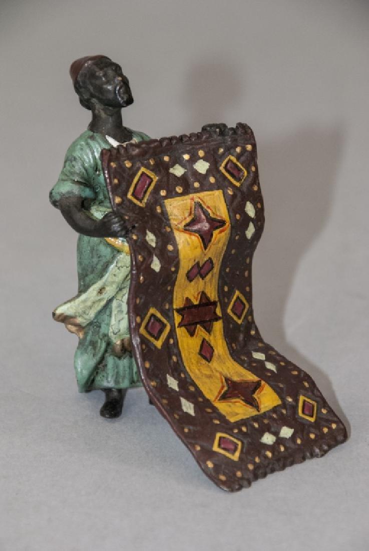 Vienna Cold Painted Bronze Statue Man w Carpet