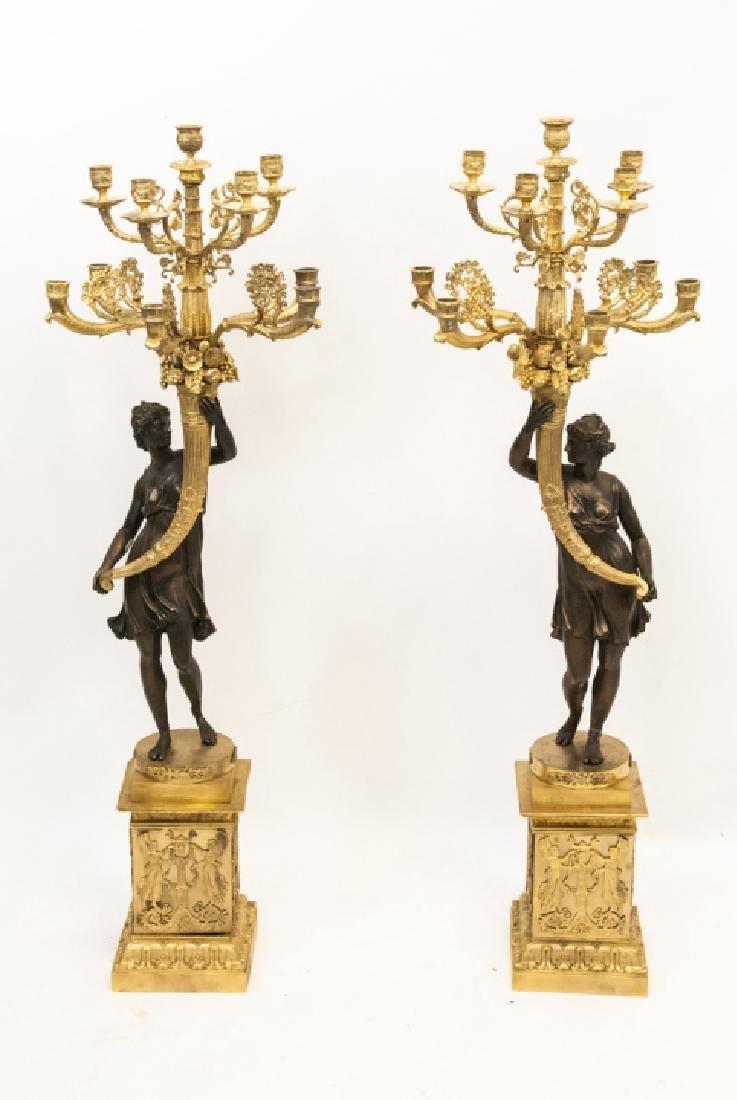 Impressive Neo Classical Style Bronze Candelabras