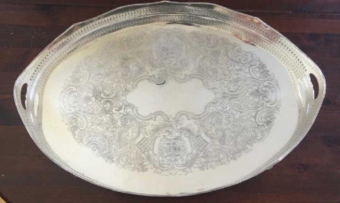 Large Silver Over Copper Galleried Serving Tray