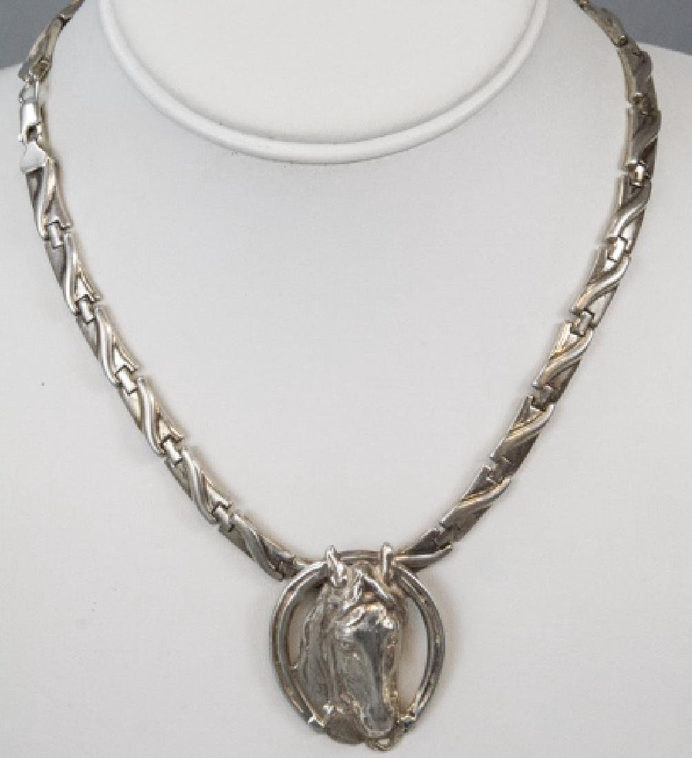 Vintage Sterling Equestrian Pendant Necklace