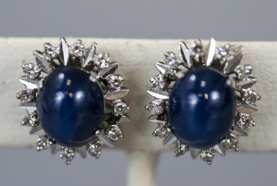 Estate 18kt Gold Diamond Star Sapphire Earrings