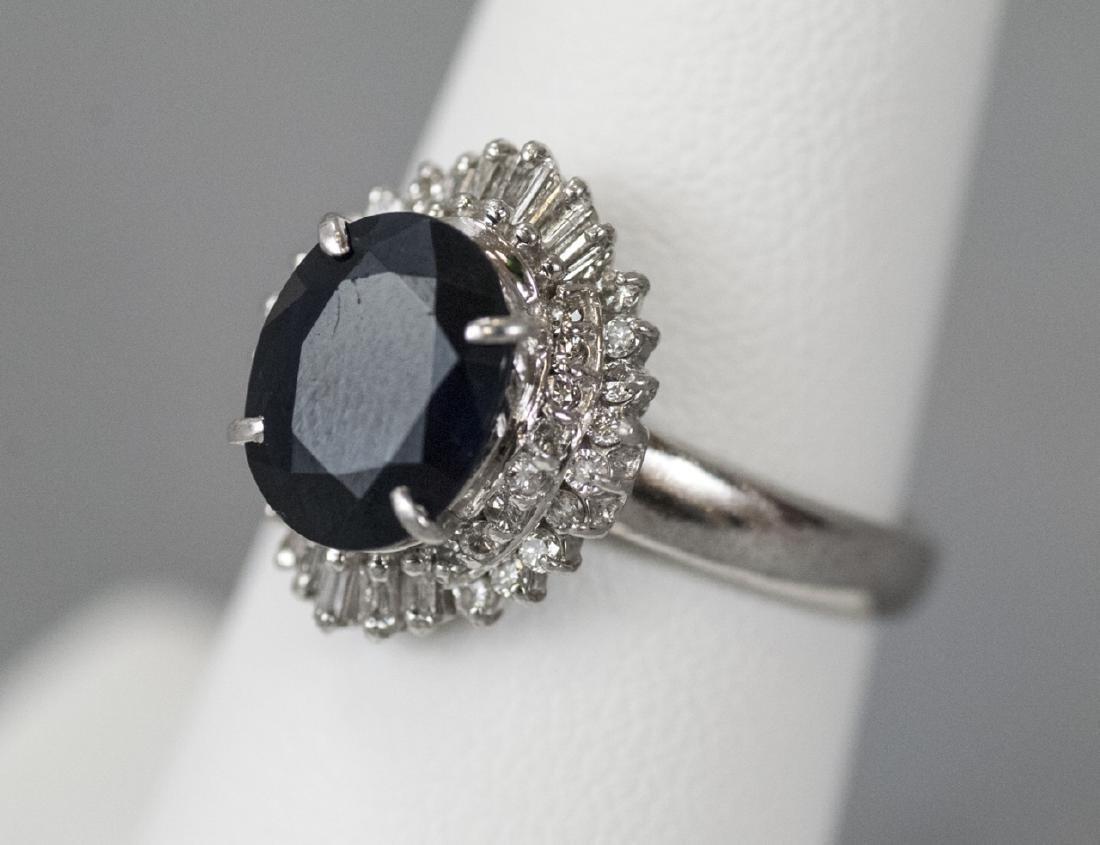 Estate Platinum 2.7 Carat Sapphire & Diamond Ring