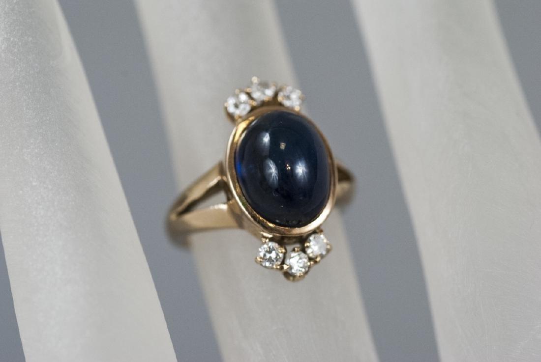 Estate 14kt Gold Cabochon Sapphire & Diamond Ring