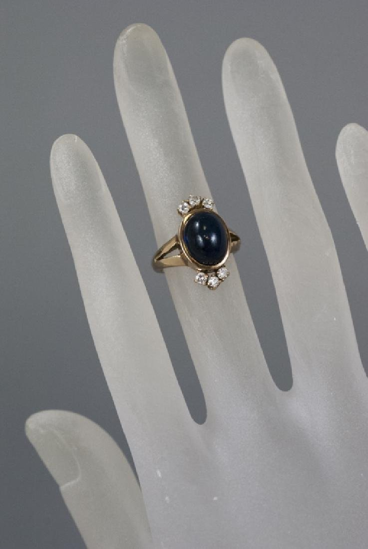 Estate 14kt Gold Cabochon Sapphire & Diamond Ring - 2