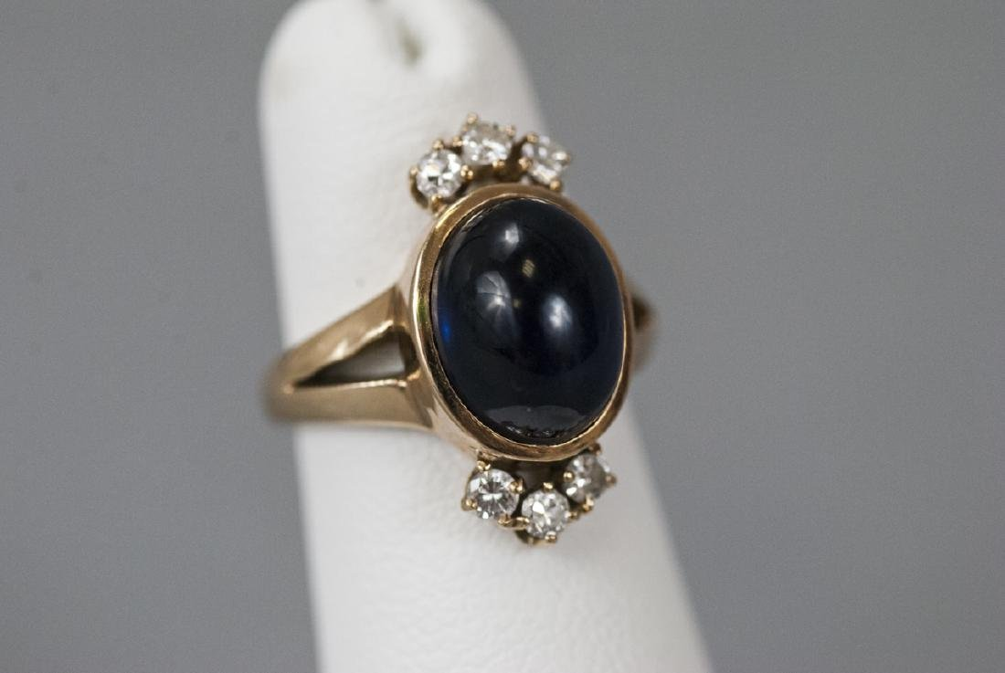 Estate 14kt Gold Cabochon Sapphire & Diamond Ring - 3