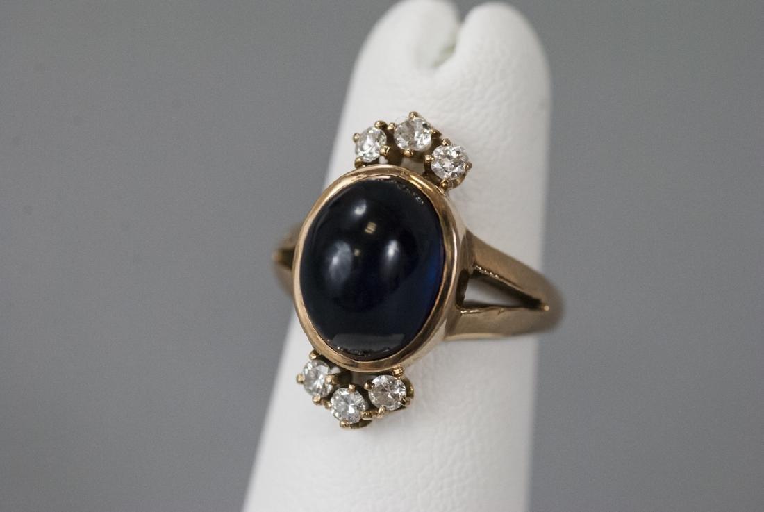 Estate 14kt Gold Cabochon Sapphire & Diamond Ring - 4