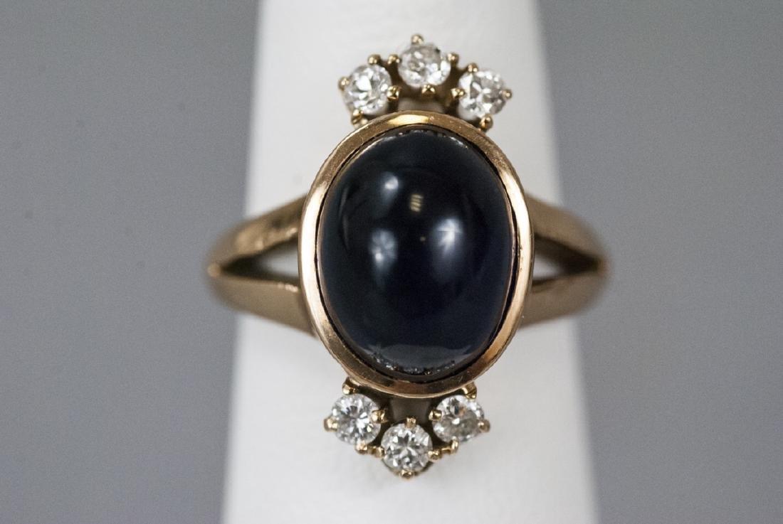 Estate 14kt Gold Cabochon Sapphire & Diamond Ring - 5