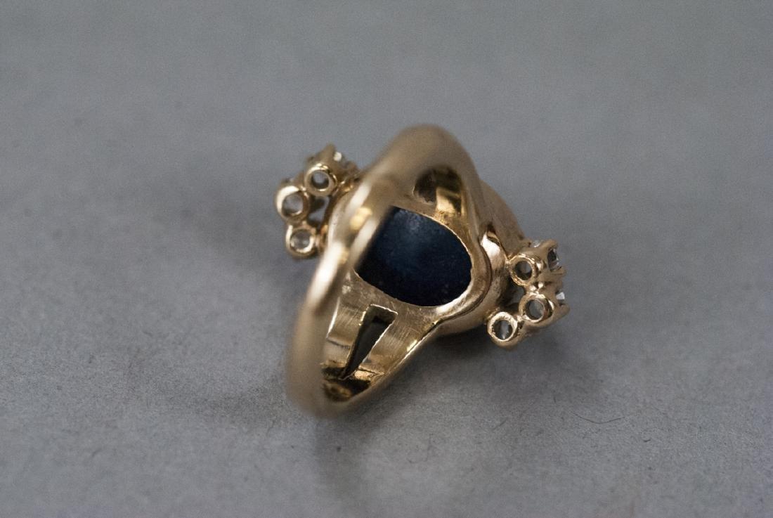 Estate 14kt Gold Cabochon Sapphire & Diamond Ring - 6