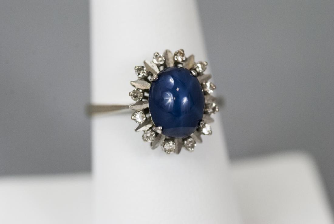 Estate 18kt Rose Gold Star Sapphire & Diamond Ring