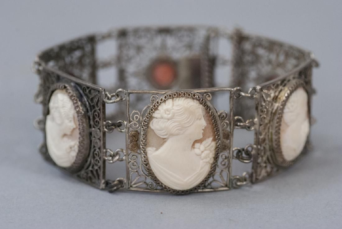 Antique Silver Filigree Cameo & Coral Bracelet