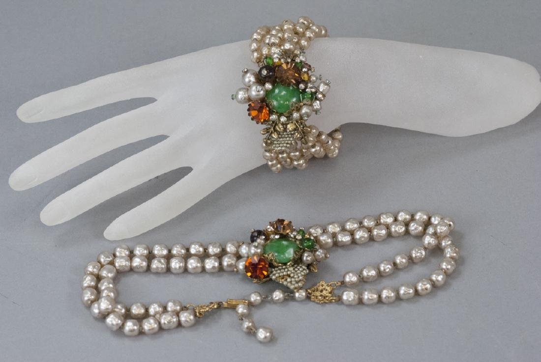 Vintage Miriam Haskell Necklace & Bracelet Set