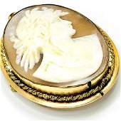 Large Antique Gold Cameo Pendant or Brooch
