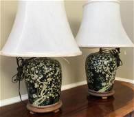 Pair Chinese Porcelain Ginger Jar Table Lamps
