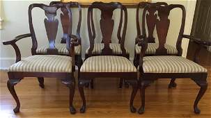 Set of Six Mahogany Tone Chippendale Style Chairs