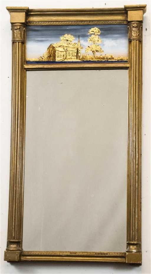 Vintage Reverse Glass Painted & Wood Mirror