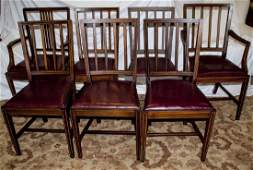 Set of Antique Banded Wood Dining Room Chairs