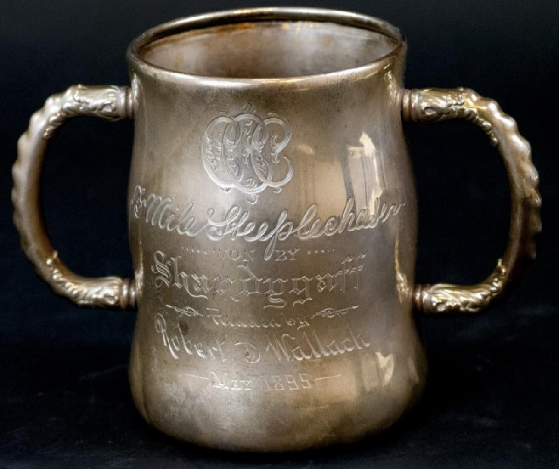 Antique 19th C Sterling Silver Equestrian Trophy