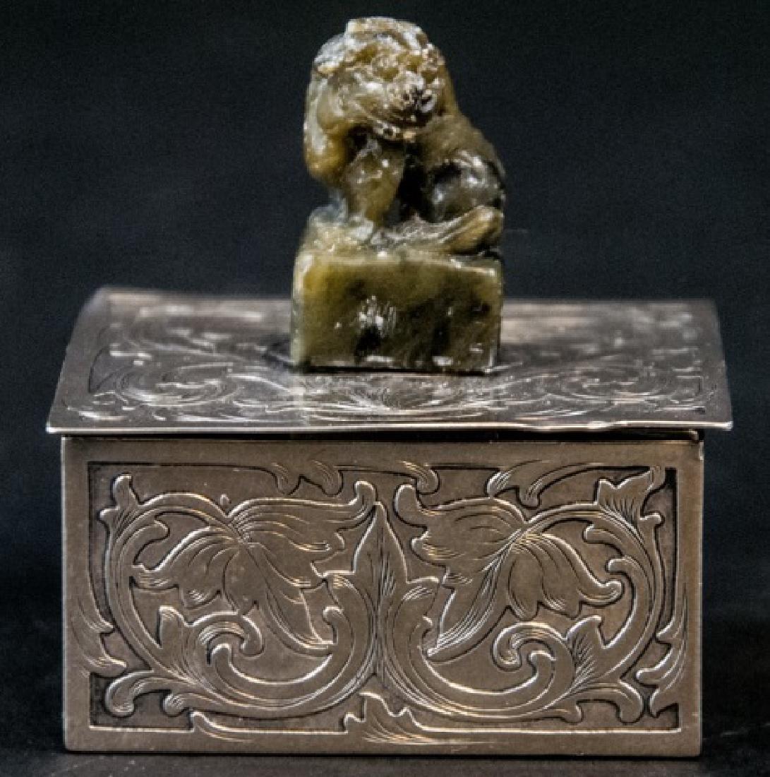 Sterling Silver & Jade Box Style of Edward Farmer