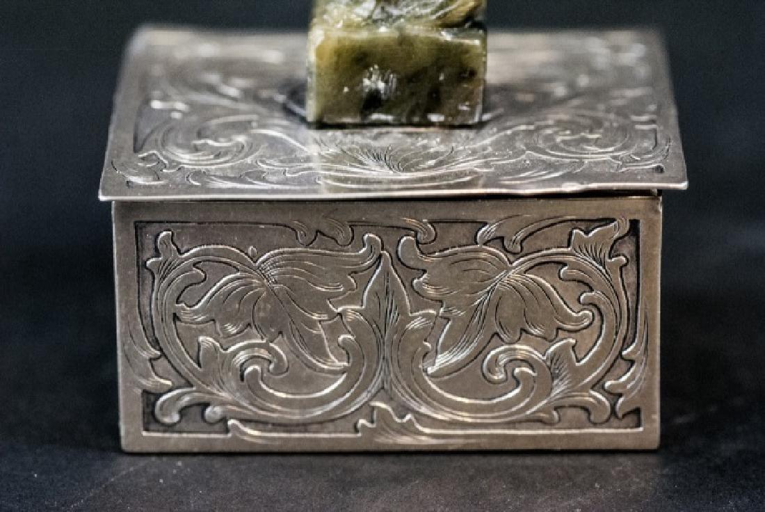 Sterling Silver & Jade Box Style of Edward Farmer - 4