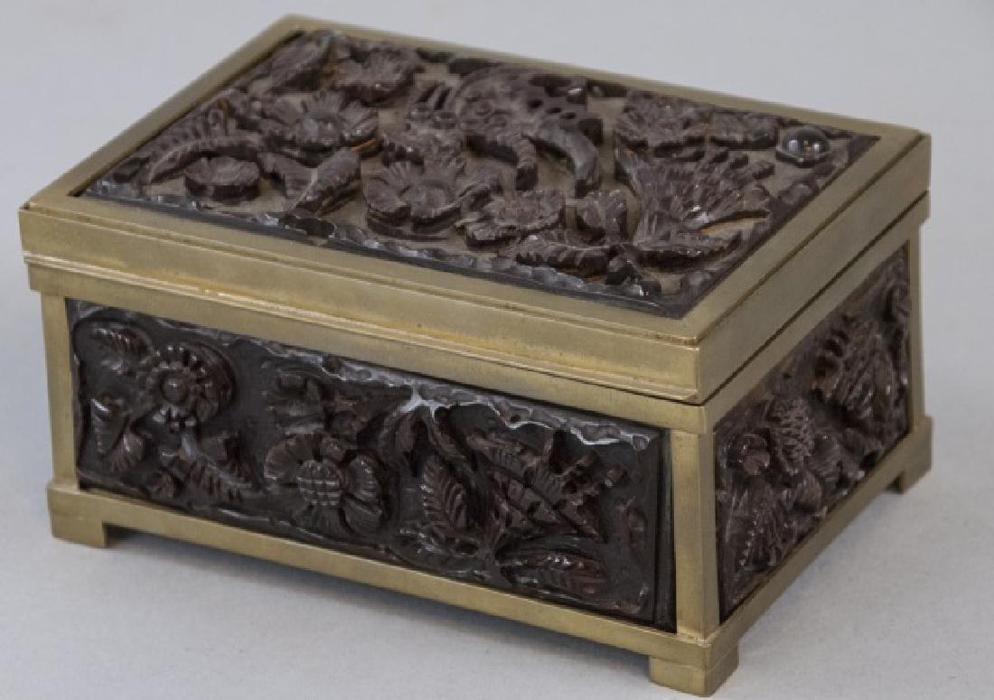 Antique Carved Bakelite & Ormolu Jewelry Box
