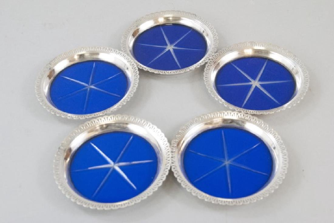 5 Sterling Silver & Bohemian Glass Drink Coasters