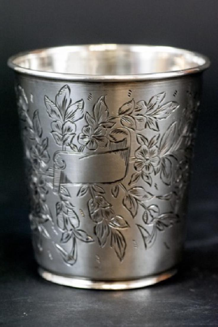 Antique 19th C Turkish Chased Silver Beaker / Vase